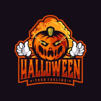Halloween-themenlogo mit kürbis