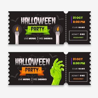 Halloween-tickets mit flachem design
