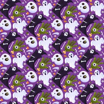 Halloween tod urlaub nahtlose muster vektor. gruseliger geist und gruselige hand mit auge, skelettknochen und schädel, sensenmann mit sense, augapfel und pilz. flache cartoon-illustration