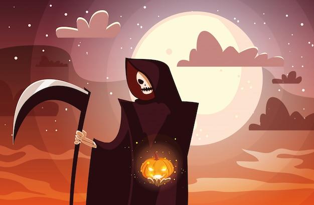 Halloween-todeskarikatur