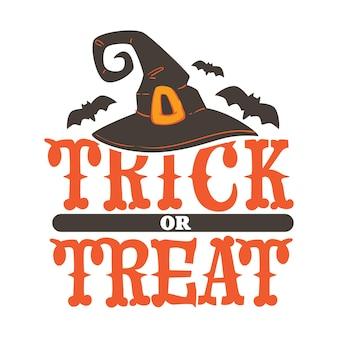 Halloween tracht und symbole, trick or treat banner mit hexenhut und gürtel, fliegende fledermäuse. gruseliger amerikanischer feiertag, saisonales fest oder karneval. karte oder aufkleber, vektor im flachen stil