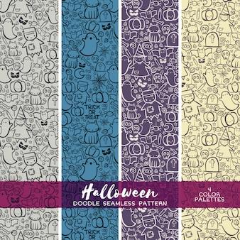 Halloween trick oder behandeln doodle nahtlose muster. zusammenfassung vektor hintergrund. nette hand gezeichnete tapete. malbuchbuchseite.