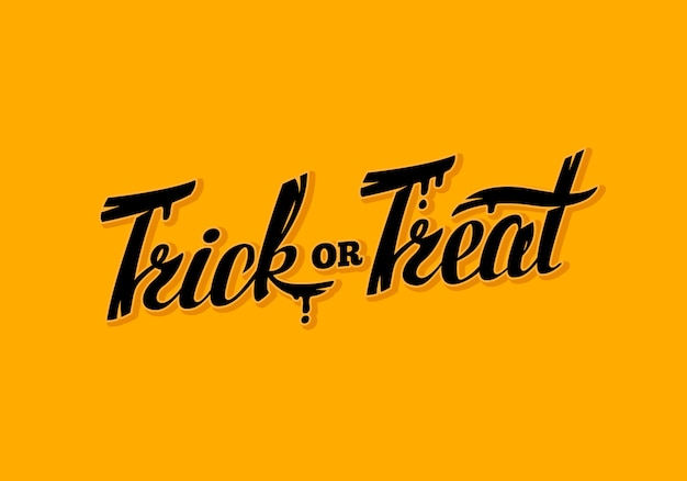 Halloween trick or treat schriftzug grußkarte illustration