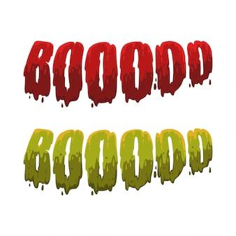 Halloween-typografie in blut und schleim