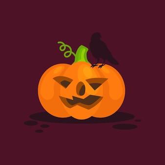 Halloween und krähe auf kürbis