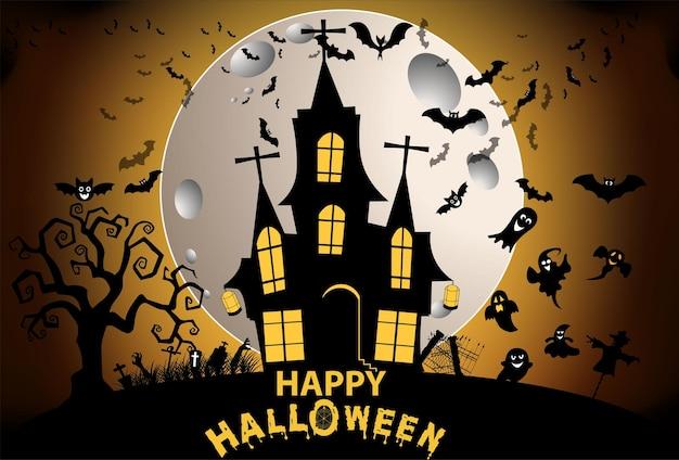 Halloween und vollmond in der dunklen nachtdunkle burg auf vollmondhintergrund