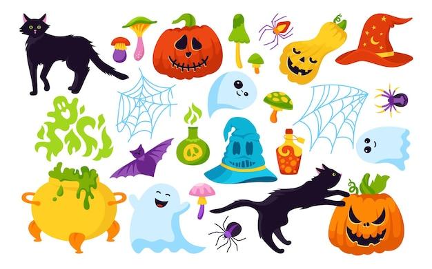 Halloween urlaub comic horror cartoon set katze kürbis hut spinnennetz magie hexe fledermaus zaubertrank