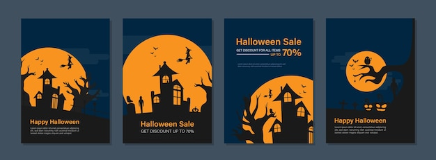 Halloween urlaub event cover designs für geschäftsbericht, broschüren, flyer, faltblatt, magazin.