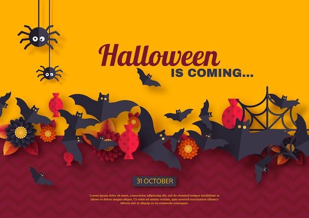 Halloween-urlaub-hintergrund. fliegende fledermäuse im scherenschnitt-stil, süßigkeiten, blumen und spinnen. lila und gelber farbhintergrund mit grußtext, vektorillustration.