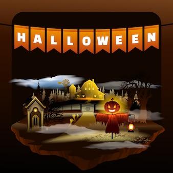 Halloween-urlaubsparty. düstere flache cartoon-szene