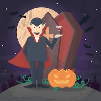 Halloween-vampir-box und kürbis mit christlichem sargkreuz auf friedhofsszene