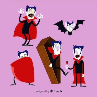 Halloween vampir charakter sammlung in verschiedenen positionen