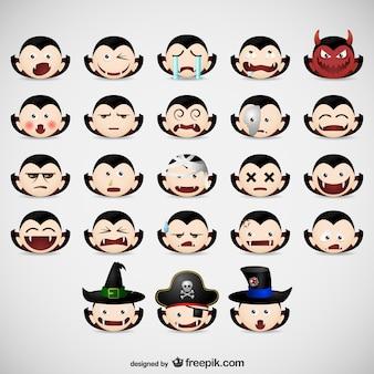 Halloween-vampir emoticons pack