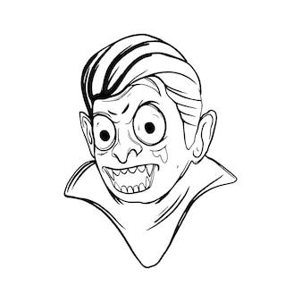 Halloween vampir schwarz-weiß-illustration für thsirt