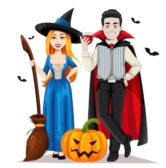 Halloween vampir und hexe isoliert auf weiß