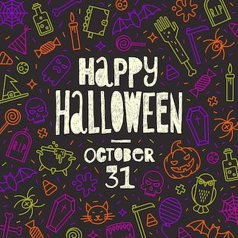Halloween-vektor-illustration hand gezeichneter gruß auf einem hintergrund mit umriss-halloween-symbolen