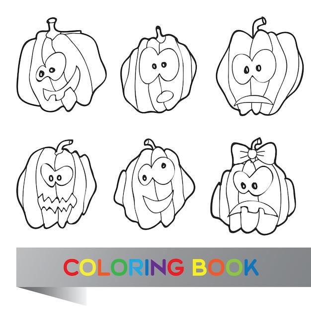 Halloween-vektor-illustration mit vielen kürbissen - malbuch