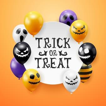 Halloween-vektorhintergrund mit geisterballons und handgezeichneten buchstaben. gruselige gruselige gesichter auf ballons. dekorationselement für halloween feier