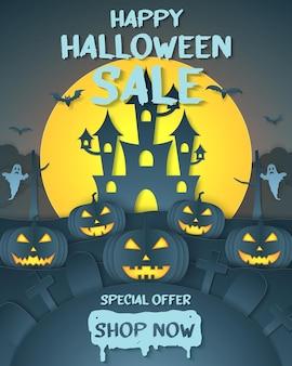 Halloween-verkauf-banner-party-einladung sonderangebot dunkler kürbiskopf auf hügel mit friedhof