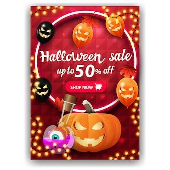 Halloween-verkauf, bis zu 50% rabatt, rotes banner mit vertikalem rabatt, helles design, halloween-luftballons, herbstblätter, kürbis jack und hexentrank