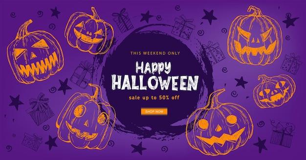 Halloween-verkauf kürbisse fledermaus hand gezeichnete illustration