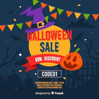 Halloween-verkauf mit rabatt im flachen design