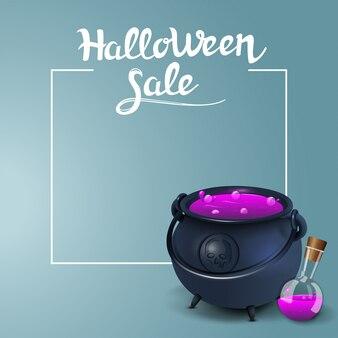 Halloween-verkauf, quadratische rabattfahnen mit dem topf der hexe mit trank