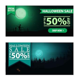 Halloween-verkauf, schöne moderne fahne des rabattes zwei mit nachtlandschaft auf dem hintergrund.