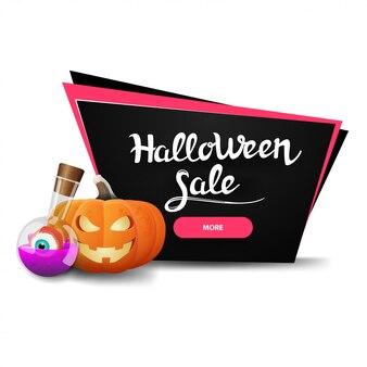 Halloween-verkauf, schwarze rabattfahne mit kürbis jack und hexentrank