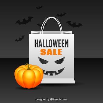Halloween verkauf tasche hintergrund mit kürbis
