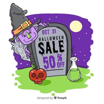 Halloween-verkauf und vergifteter apfel