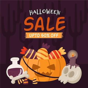 Halloween-verkauf werbeillustration