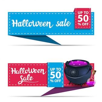 Halloween-verkauf, zwei horizontale rabattfahnen in form von band