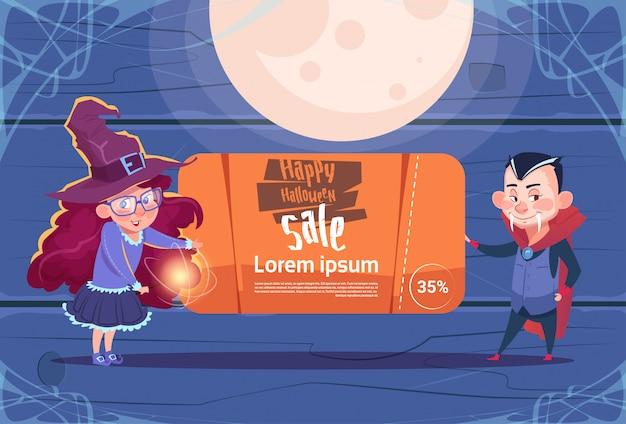 Halloween-verkaufs-fahnen-hexe und dracula halten saisonrabatt-konzept