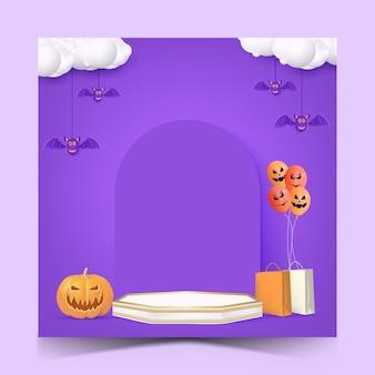Halloween-verkaufs-social-media-post-vorlage mit podium