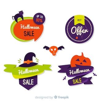Halloween-verkaufsaufklebersammlung mit flachem design