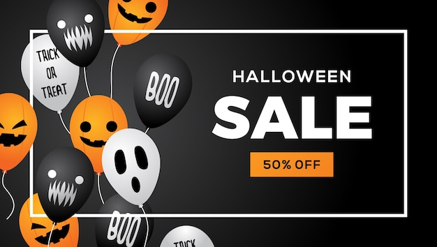 Halloween-verkaufsballon-fahnenrahmen-schwarzhintergrundvektor