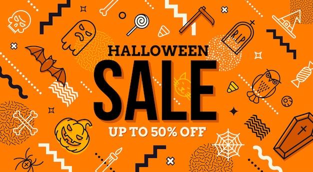 Halloween-verkaufsbanner. muster mit halloween-zeichen, symbolen und abstrakter unterschiedlicher form. promotion-vorlage design.