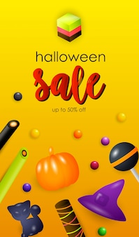 Halloween-verkaufsbeschriftung mit geleebonbons