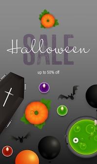 Halloween-verkaufsbeschriftung mit sarg und trank im großen kessel