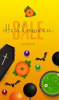 Halloween-verkaufsbeschriftung mit trank im großen kessel und in den kürbisen