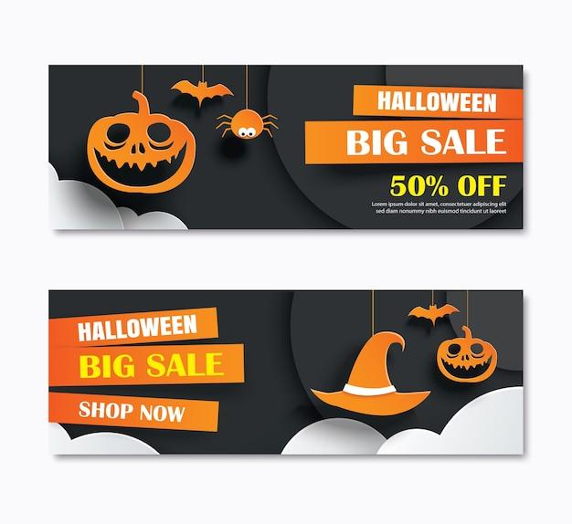 Halloween-verkaufsfahne mit dunklem mondpapier-kunsthintergrund