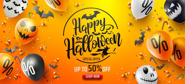 Halloween-verkaufsförderungs-plakat mit halloween-süßigkeit und halloween-geist-ballonen