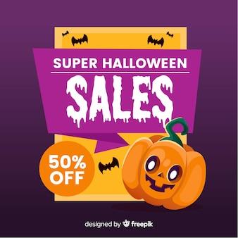 Halloween-verkaufshintergrund in der flachen art
