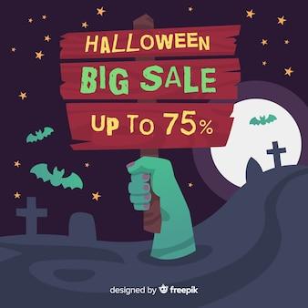 Halloween-verkaufshintergrund mit der zombiehand