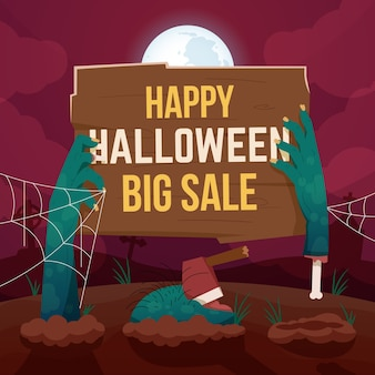 Halloween-verkaufshintergrund mit zombiehänden
