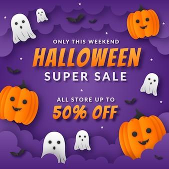 Halloween-verkaufsillustration im papierstil