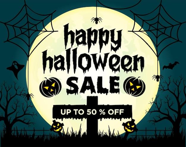 Halloween-verkaufsillustration mit verlauf kostenlosen vektoren