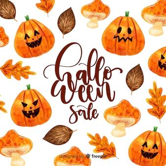 Halloween-verkaufskonzept im aquarell