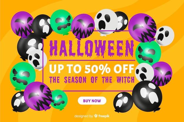 Halloween-verkaufskonzept mit flachem designhintergrund